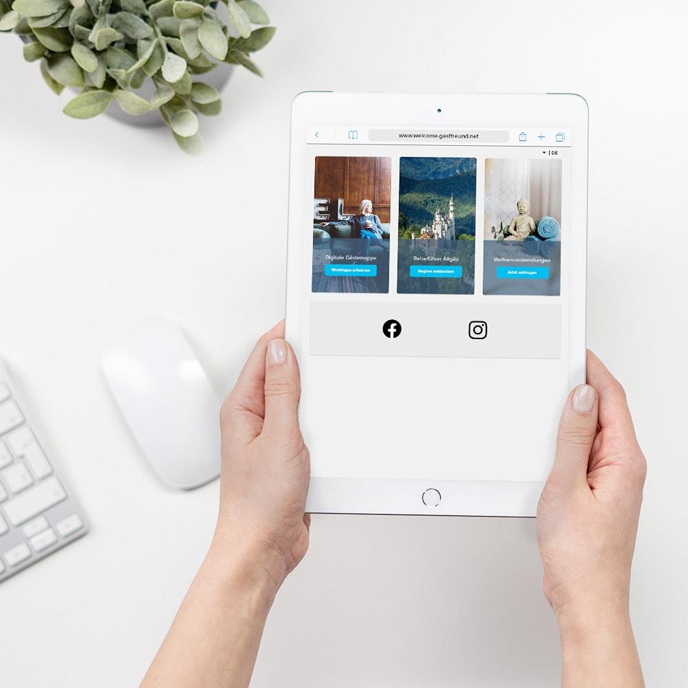 Ein Tablet zeigt die WLAN-Willkommensseite von Gastfreund