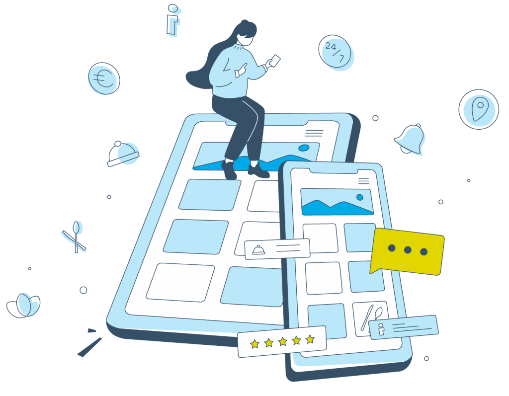 Eine grafische Illustration, die die Digitale Gästemappe von Gastfreund zeigt