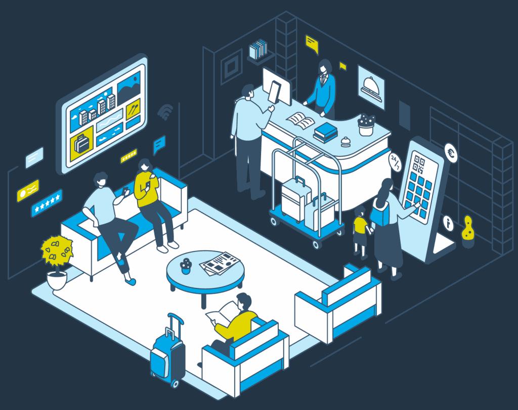 Eine grafische Illustration, die zeigt, wie die Produkte von Gastfreund (Digitale Gästemappe, Infokanal, Hotelzeitung, Touchscreen-Kiosk) in einem Hotel genutzt werden. Ein Mitarbeiter des Hotels spricht mit einem Gast.