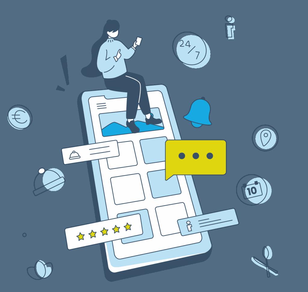 Eine grafische Illustration, die die Hotel-App von Gastfreund zeigt