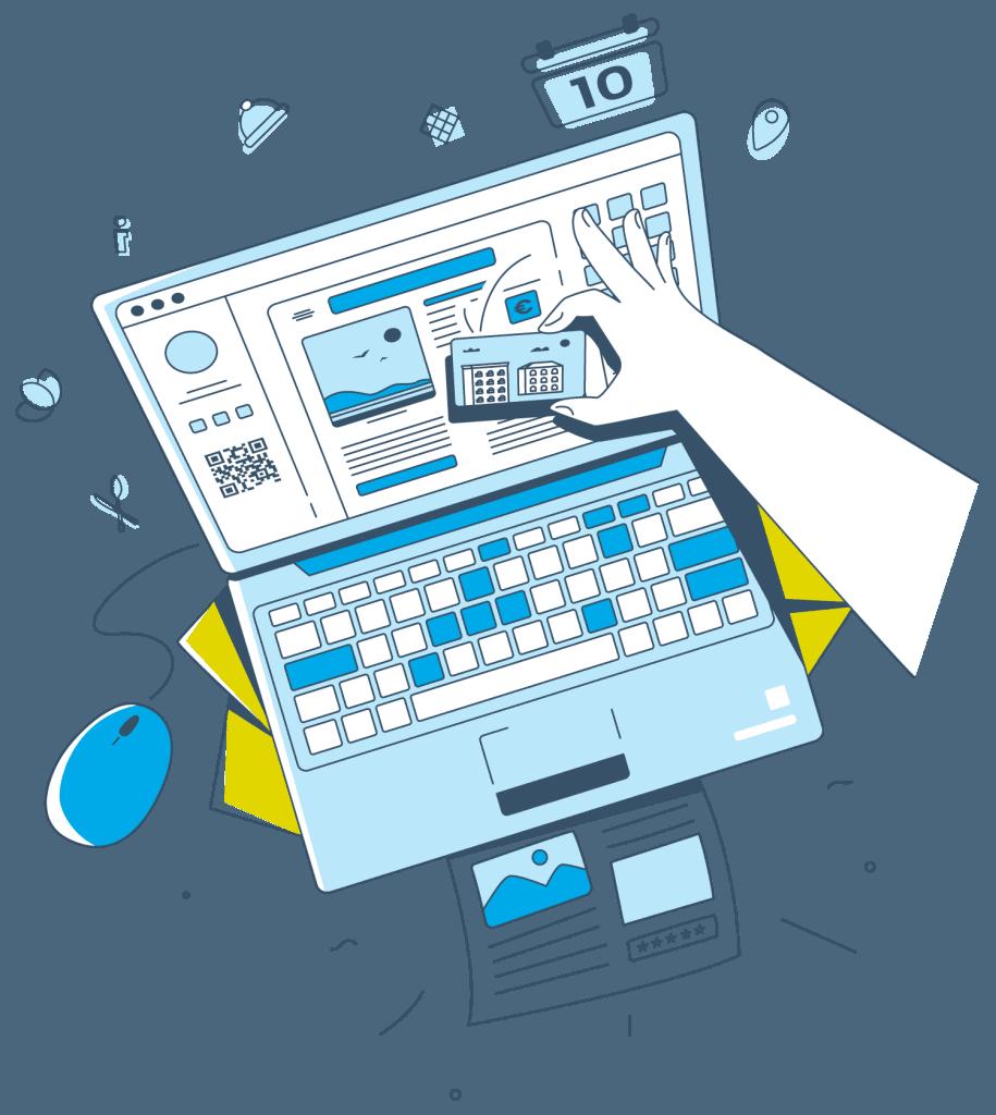 Eine grafische Illustration zeigt, wie die Hotelzeitung mit dem Online-Editor von Gastfreund per Drag-and-Drop schnell und einfach erstellt und ausgedruckt werden kann