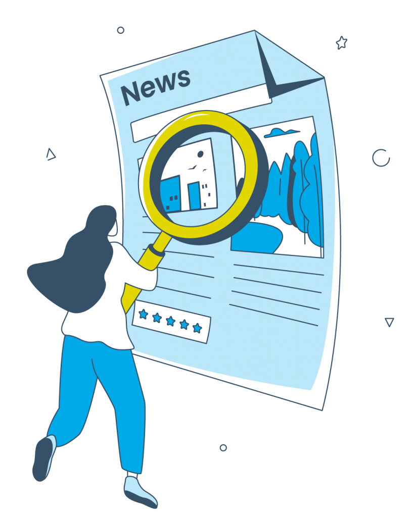 Eine Illustration zeigt eine Person, welche den Inhalt einer Nachricht mit einer Lupe vergrößert