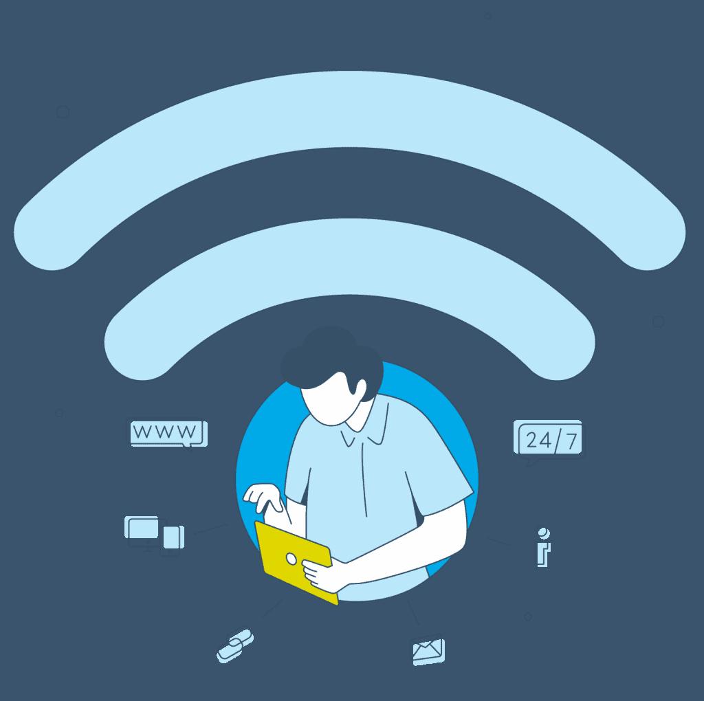 Eine grafische Illustration, die die WLAN-Willkommensseite von Gastfreund zeigt