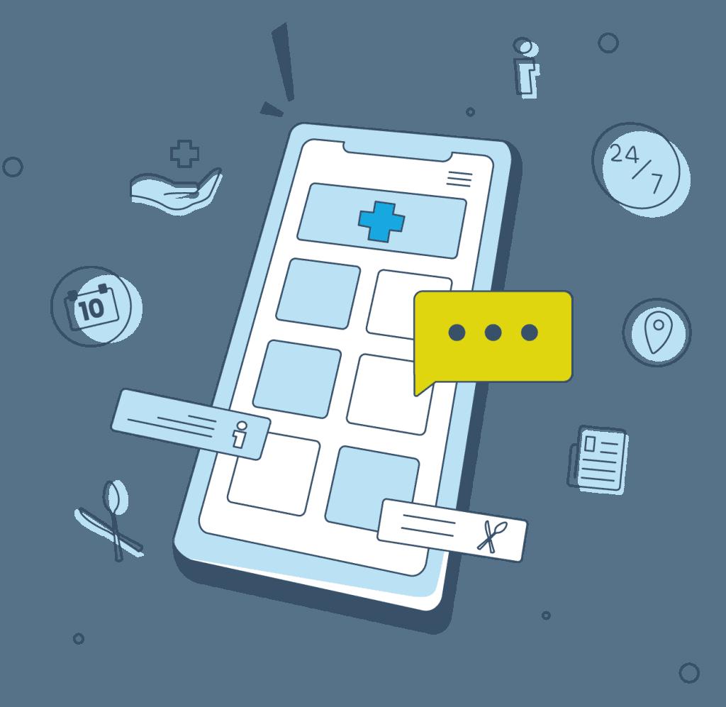 Eine grafische Illustration, die die Klinik-App von Gastfreund zeigt